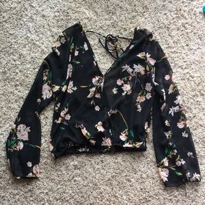 Sheer Floral Blouse with Open Back